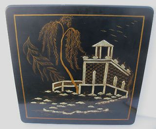 BLACK LACQUER CHINOISERIE ORIENTAL PANEL / TABLE TOP 20 SQUARE
