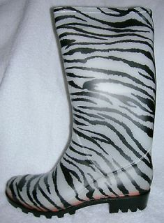 CLEAR ZEBRA PRINT RAIN BOOTS by NATURE BREEZE SIZES 6   10