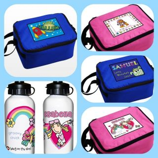 CHILDRENS BOYS GIRLS KIDS PERSONALISED SCHOOL LUNCH BOX COOL BAG