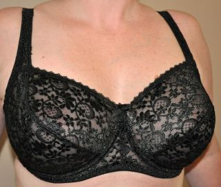 BLACK LARGE CUP E TO J UNDERWIRED LACE BRA RETRO VINTAGE STYLE SEXY
