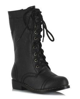 Kids Punk Superhero Mid Calf Black Lace Up Combat Boots Small