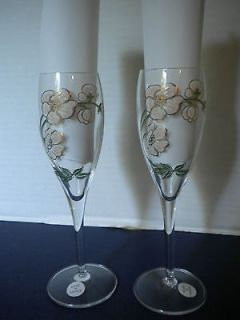 PERRIER JOUET Flower Champagne Flutes Glasses Set 2 Classic Made in