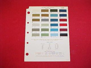 chevrolet paint colors chart