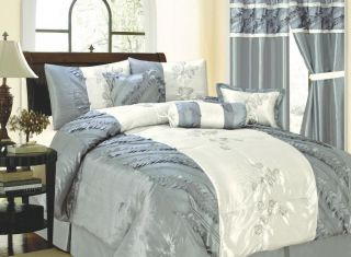 13 Piece Comforter Set Queen King Bed in a Bag Blue Sage Brown Lilac
