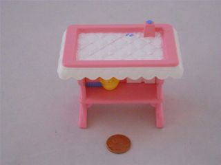 Loving Family Dollhouse Pink Baby Doll Changing Table Nursery Girl