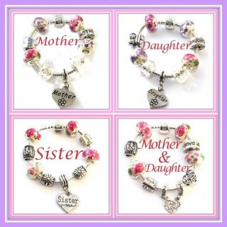 ★ FINISHED Silver/Pl CHARM BEAD BRACELETS Sister /Mother /Daughter