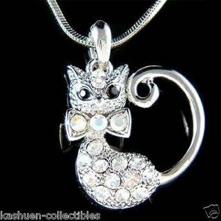 Austrian Crystal ~Kitty Cat Kitten animal pet Pendant Charm Necklace