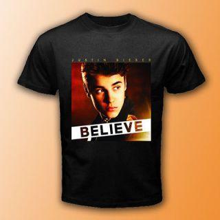 New Justin Bieber Believe American Tour Black T Shirt Size S 3XL