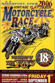 FLAT TRACK MOTORCYCLE RACING PEACE POSTER HARLEY DAVIDSON INDIAN