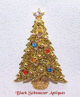 Vintage CHRISTMAS TREE Pin Brooch signed ~RON
