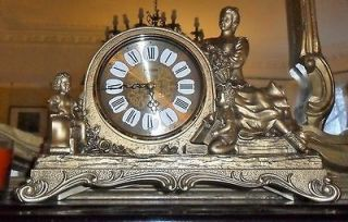 28 SONG FRENCH BAROQUE ANTIQUE GOLD MANTLE CHIMES MUSICAL CLOCK