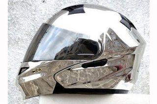 MASEI 815 SILVER CHROME Flip Up Motorcycle Helmet M XL