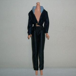 VINTAGE BARBIE DOLL DARK BLUE NYLON SHINY SEXY DISCO PANTS SUIT JACKET