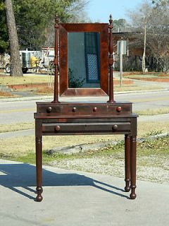 Mahogany American Empire Dressing Table/Vanity with Mirror circa 1840