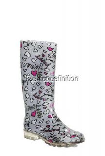New Coach Authentic Women PIXY Poppy Grey Knee High Rain Boots Shoes