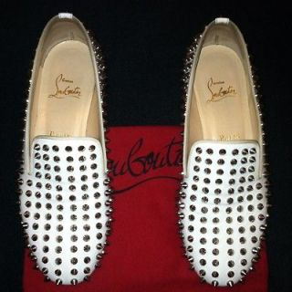Christian Louboutin Roller Boy Spiked Loafer Flats In White Patent