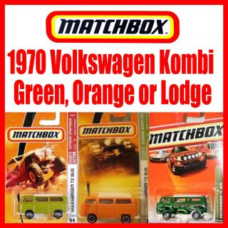 Matchbox 1970 T2 VW Kombi Camper Van Bus Bulli. RARE Green, Orange OR