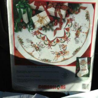 Dreamtime Carousel Horse Christmas Tree Skirt Cross Stitch Kit