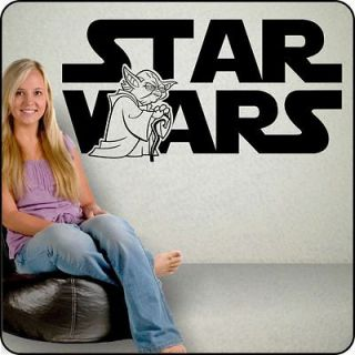 WARS Wall Decal with YODA inset   Star Wars bedroom wall decor art