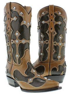 New womens cowboy boots ladies dance leather cross rhinestone jewel