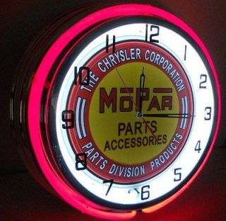 Mopar Chrysler Dodge 18 Double Neon Clock Parts Dealer Garage Emblem