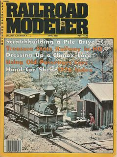 Modeler   Apr 1977   Pile Driver   Climax Loco   Hand Car Shed