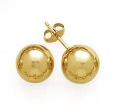 14K Yellow Gold Ball Stud Earrings With 14k Push Back 3, 4, 5, 6, 7