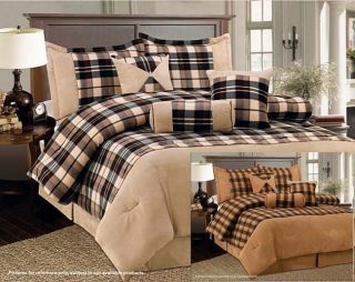 Plaid Fleece/Microsu ede bed in a bag Comforter Set NEW in TWO COLORS