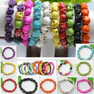 Fashion Korean Style Turquoise Sugar Skull Beads Bracelets Elastic