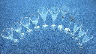 Mixed Lot of Crystal Stemware Waterford/Roma nian Handmade/Gold Rim 11