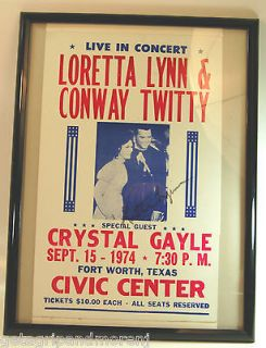 1974 Loretta Lynn & Conway Twitty Concert Poster SIGNED FRAMED