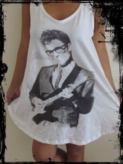 Ladies Buddy Holly Dress*** Free Size Tank Top T Shirt Vest Singlet