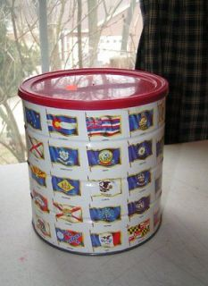 Vintage 1970 Hills Bros Coffee Can All 50 State Flags