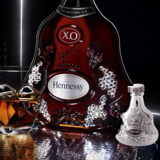 Silver Color Hennessy XO X.O. Cognac Grape Leaves Design Bottle