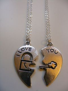 x2 Best Friends Forever I Love you Necklace Split Heart Broken Heart