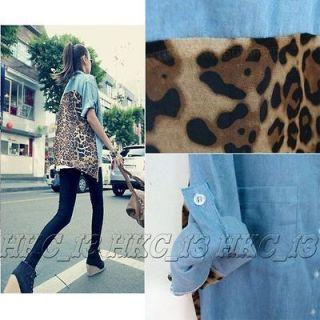 Vintage Fashion Leopard Womens Button Shirt Blouse Retro Denim Chiffon