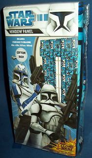 STAR WARS CLONE Trooper WINDOW PANEL Blue Drapes Curtains NEW SEALED