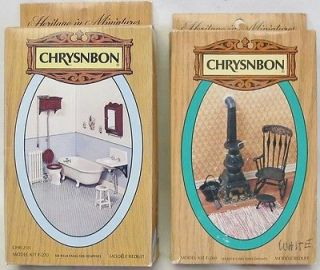 Miniature NEW CHRYSONBON Kits Bathroom & Pot Belly Stove & CHAIR Kit
