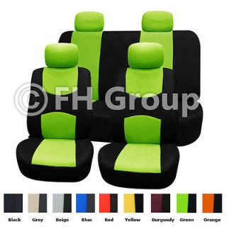 Cloth Seat Covers w. 4 Detachable Headrests and Solid Bench Lime Green