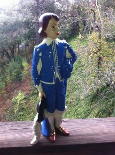 Vintage Holland mold statue 16 inches tall hand painted Blue Boy