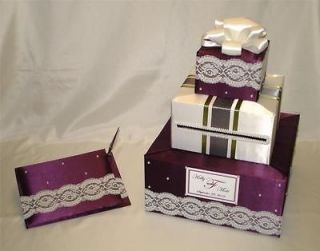 Custom Made Wedding Card Box Guest Book/Pen set  any color combination