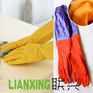 Decor Wash Dishes Cleaning Rubber Latex Gloves Waterproof Long Sleeves