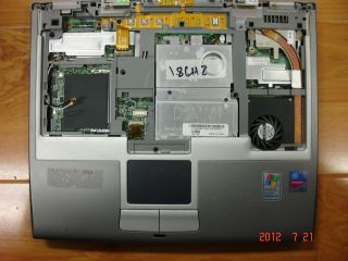 USED GENUINE DELL LATITUDE D400 MOTHERBOARD + TOUCHPAD + PALMREST