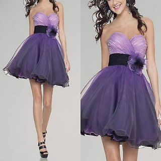 purple tulle bubble flowery cocktail ball party evening prom dress
