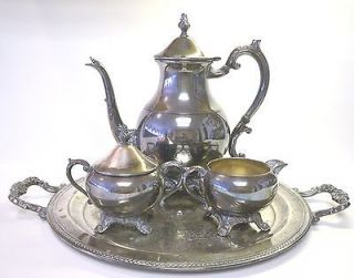 ROGERS SILVER CO. PLATED TEA/COFFEE SET TRAY/SUGAR/CRE AMER/POT