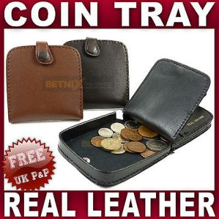 Mens Gents Leather Coin tray purse wallet change Black Brown Tan men
