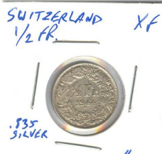 1944 SWITZERLAND 1/2 FRANC SILVER XF COIN