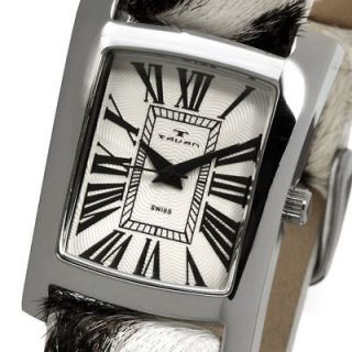 Tavan Swiss Ladies Destinee Black White Leather Strap