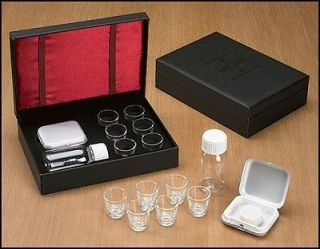 Clergy Gift 6 Communion Cup Portable Travel Leather Set & Host Box