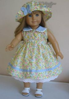 DOLL CLOTHES fits American Girl Dress, Hat & Half Slip BUTTERFLIES